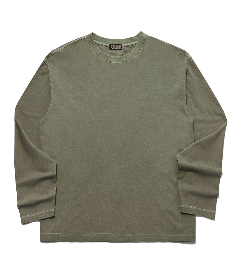 PIGMENT BACK LOGO LONG SLV T DUSTKHAKI