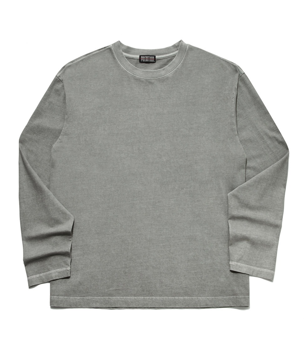 PIGMENT BACK LOGO LONG SLV T WashedGREY