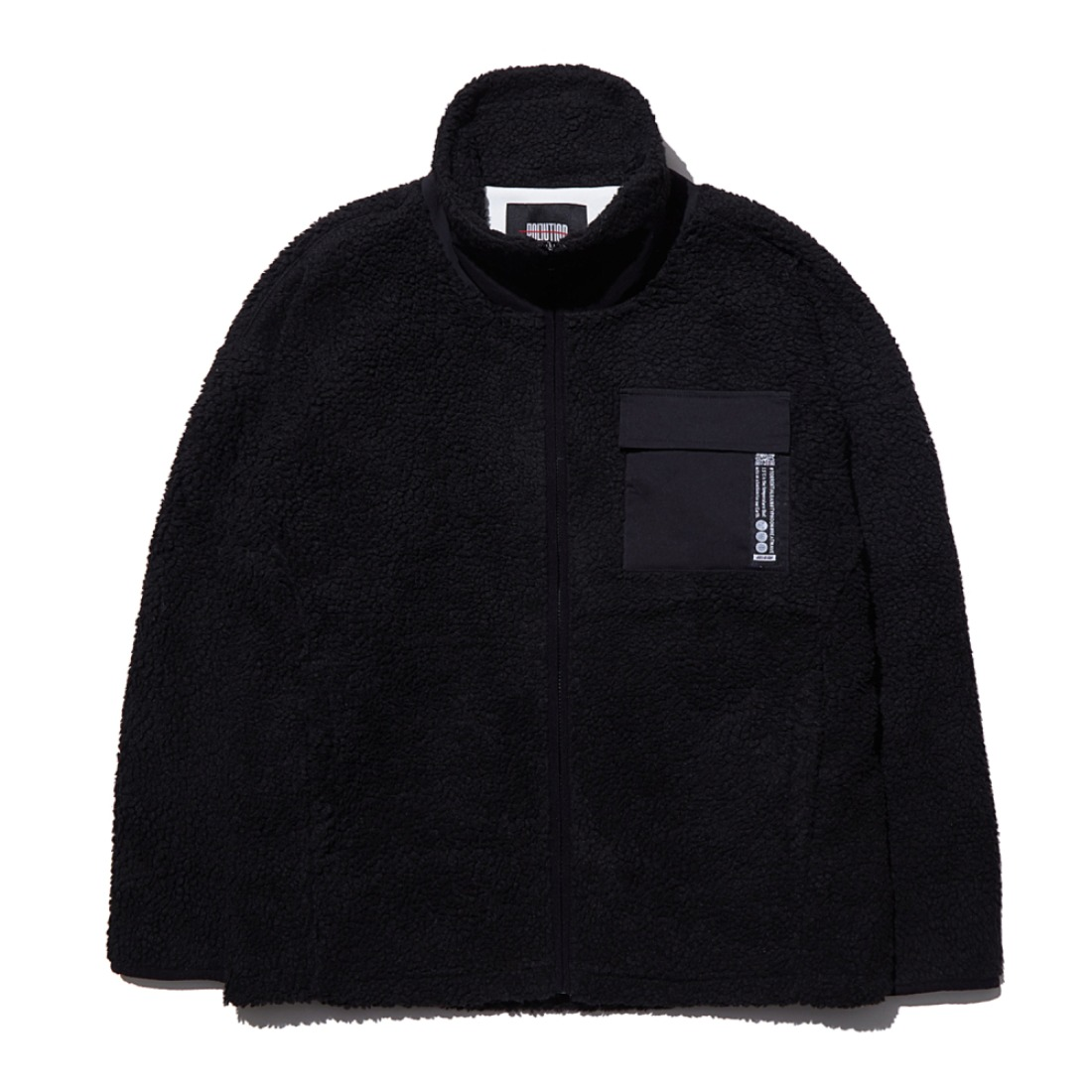 MIXED FLEECE ZIP-UP JACKET BLACK