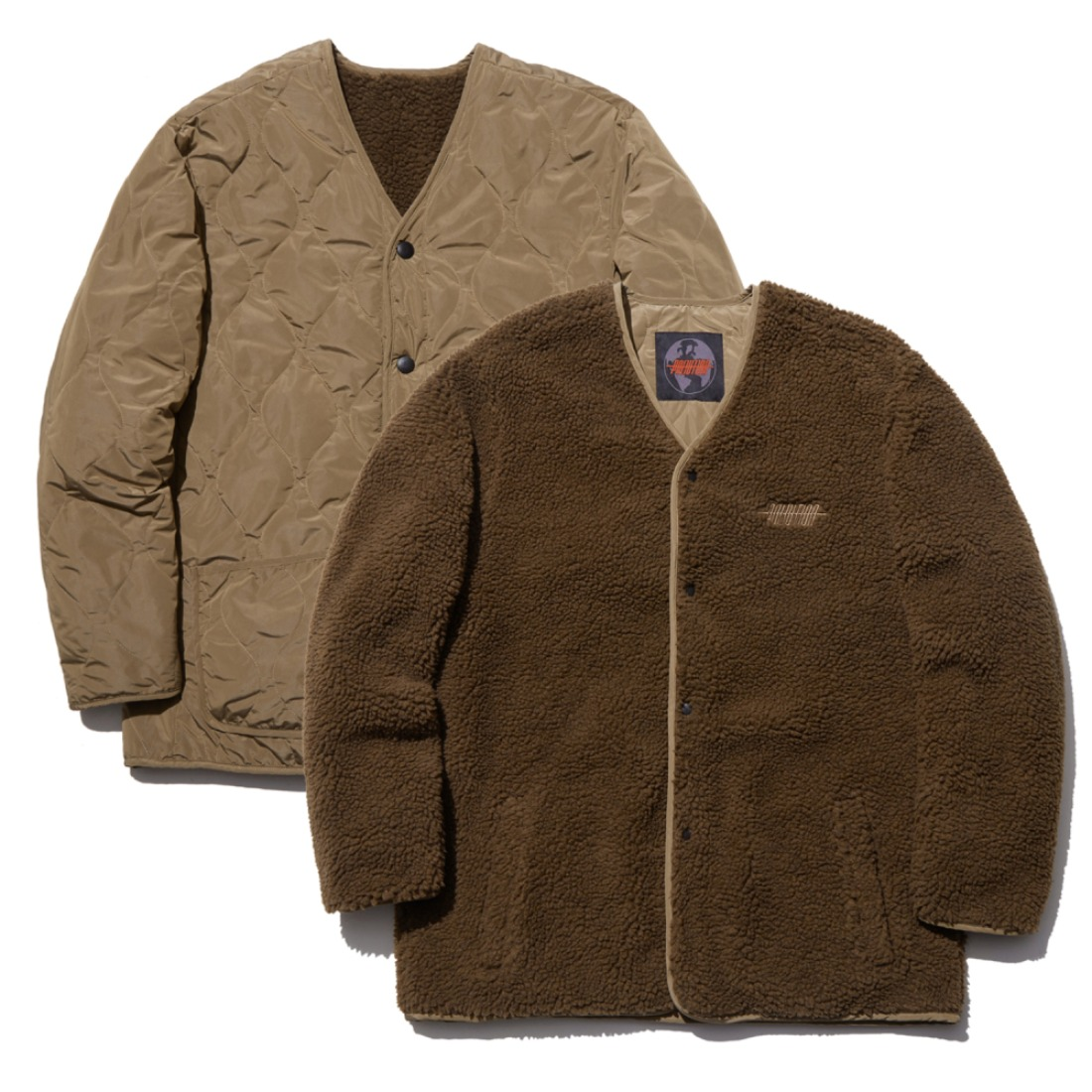 REVERSIBLE SHRPA JACKET BROWN