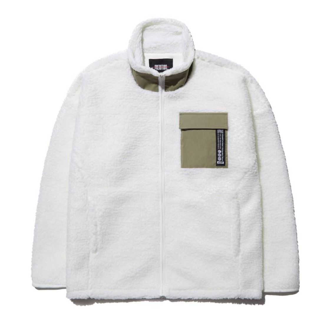 MIXED FLEECE ZIP-UP JACKET IVORY