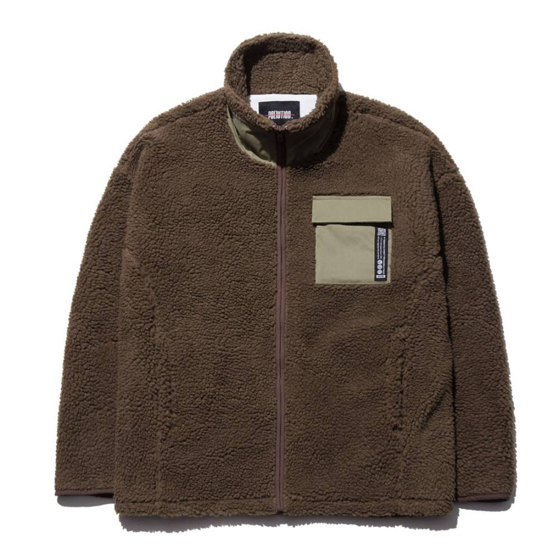 MIXED FLEECE ZIP-UP JACKET BROWN
